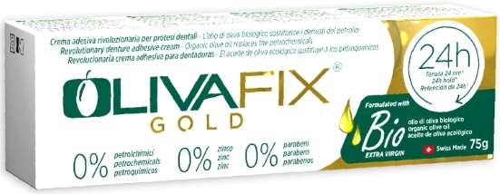 OlivaFix Gold Healthy Denture Adhesive Cream Box